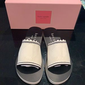 NWT Kate Spade White slide sandals size brown 10